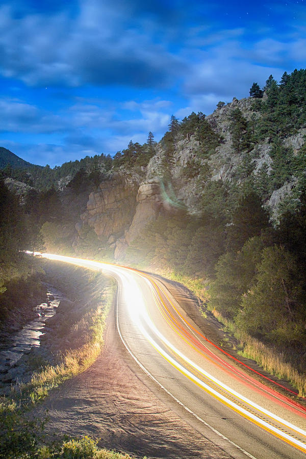 Night Photograph - Boulder Canyon Neon Light  by James BO  Insogna
