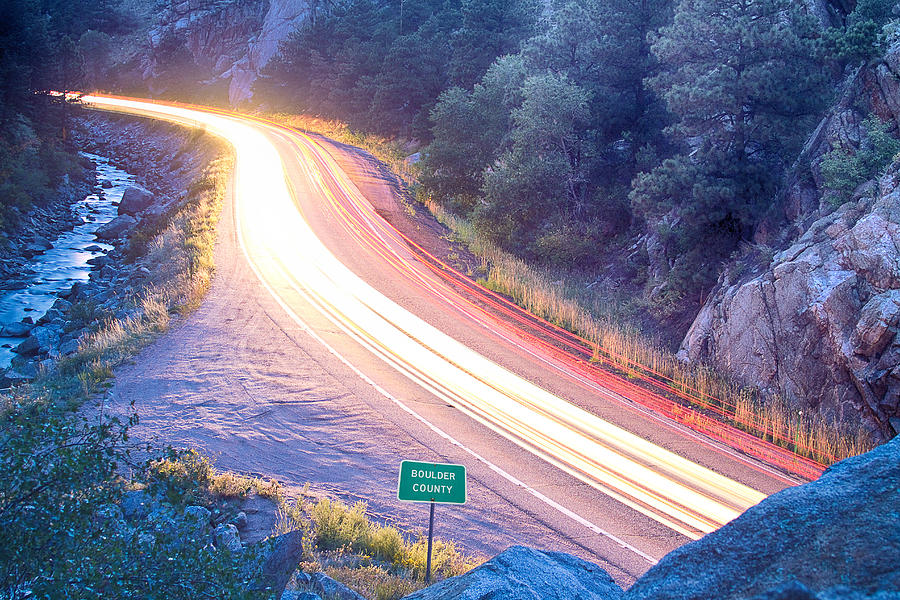 Night Photograph - Boulder County Colorado Blazing Canyon View by James BO  Insogna