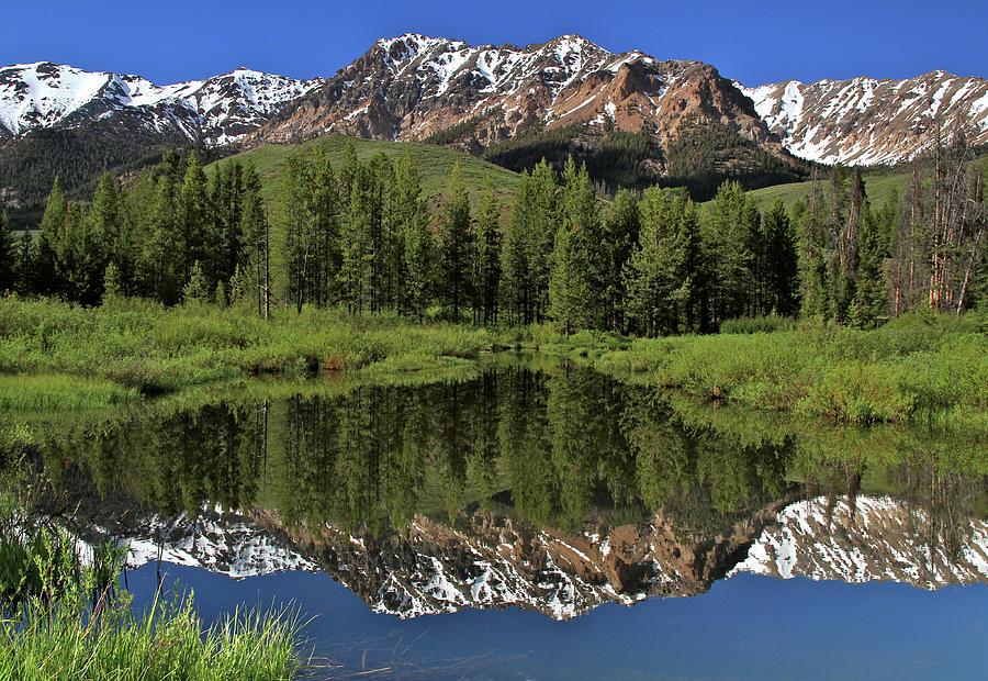 Boulder Mountain Reflection Sun Valley Idaho by Ed  Riche