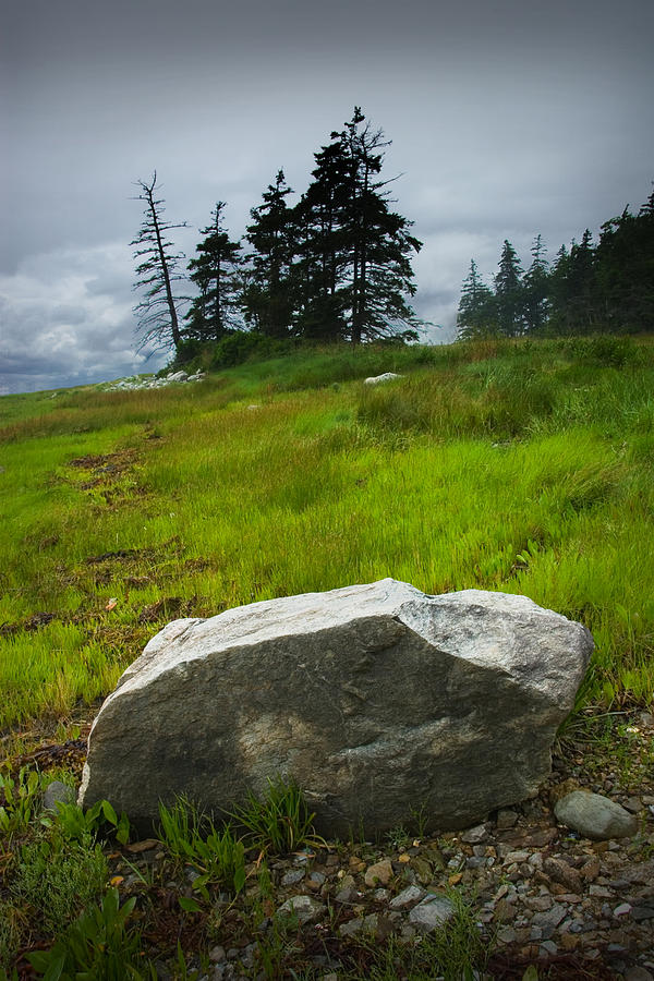 Landscape Photograph - Boulder On The Shore At The Mount Desert Narrows In Maine by Randall Nyhof