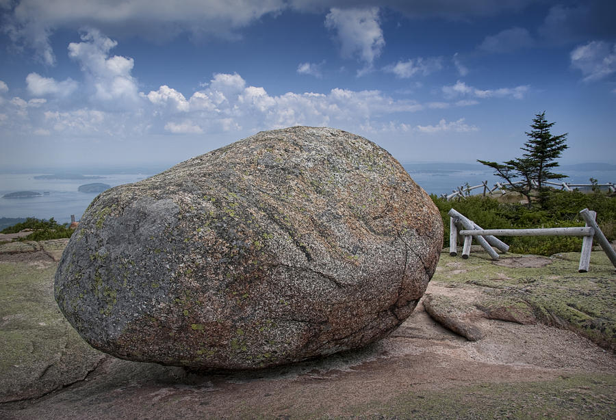 Landscape Photograph - Boulder On Top Of Cadilac Mountain In Acadia National Park by Randall Nyhof