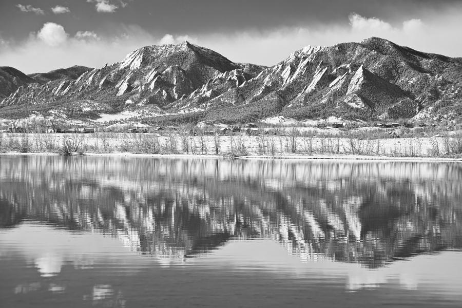 Boulder Reservoir Flatirons Reflections Boulder Co Bw Photograph
