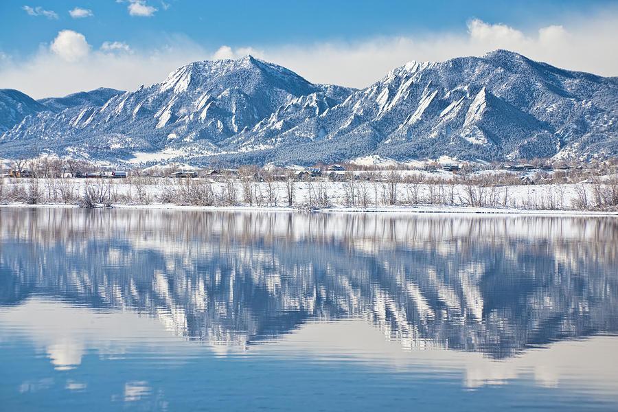Boulder Reservoir Flatirons Reflections Boulder Colorado Photograph
