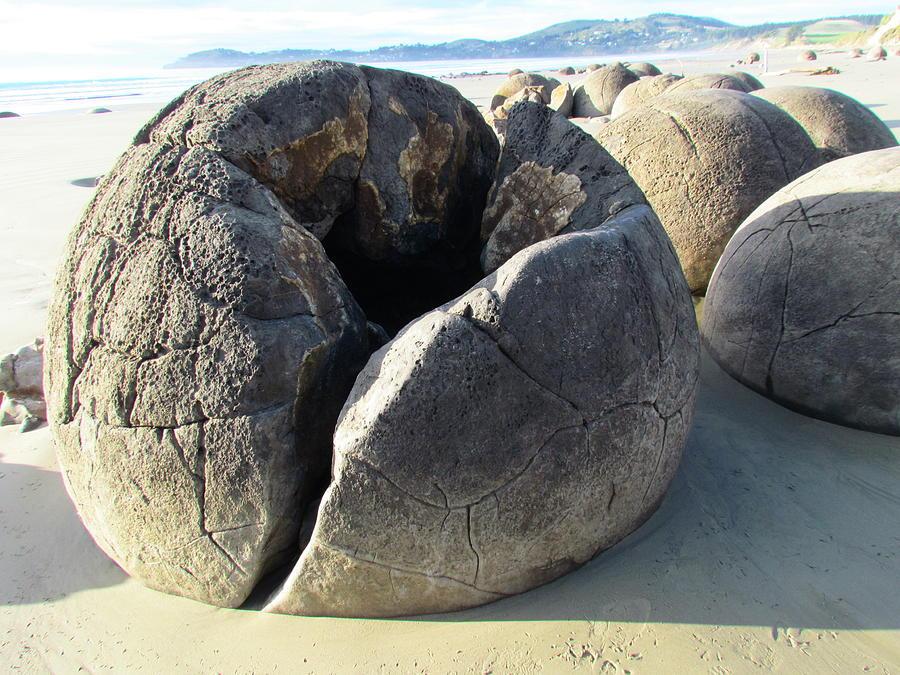 Moeraki Boulders Photograph - Boulders by Joyce Woodhouse