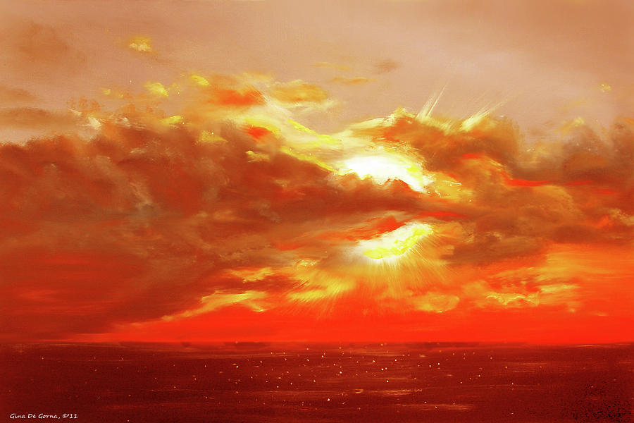 Sunset Painting - Bound Of Glory - Red Sunset  by Gina De Gorna