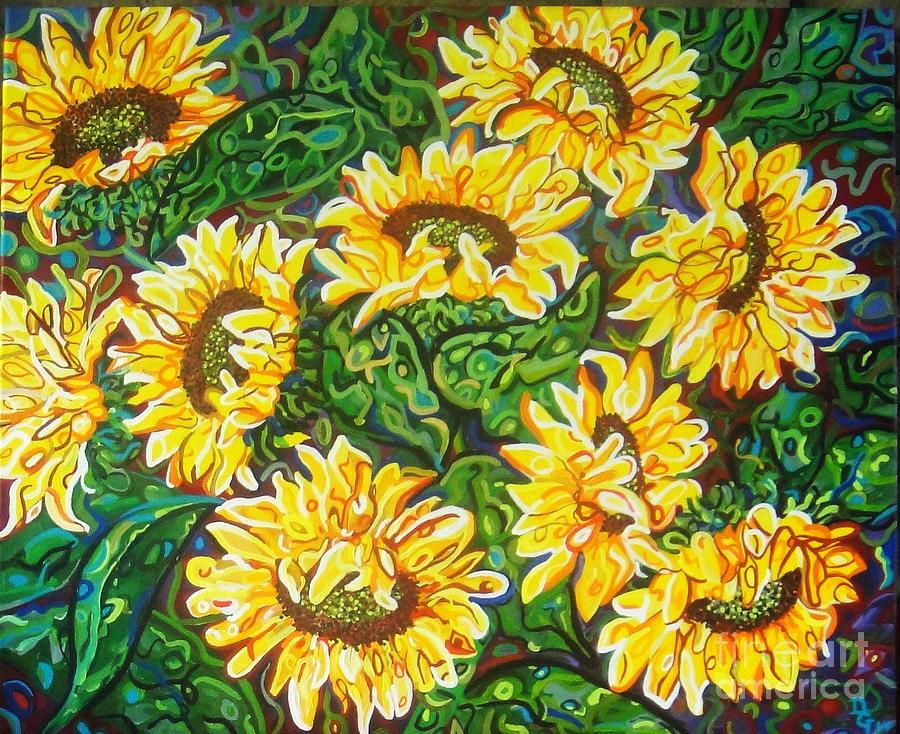 Sunflowers Painting - Bountiful Sunflowers by Deborah Glasgow