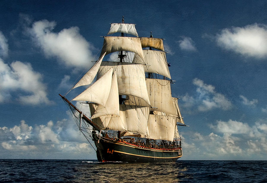 Hms Bounty Digital Art - Bounty Making Way by Peter Chilelli