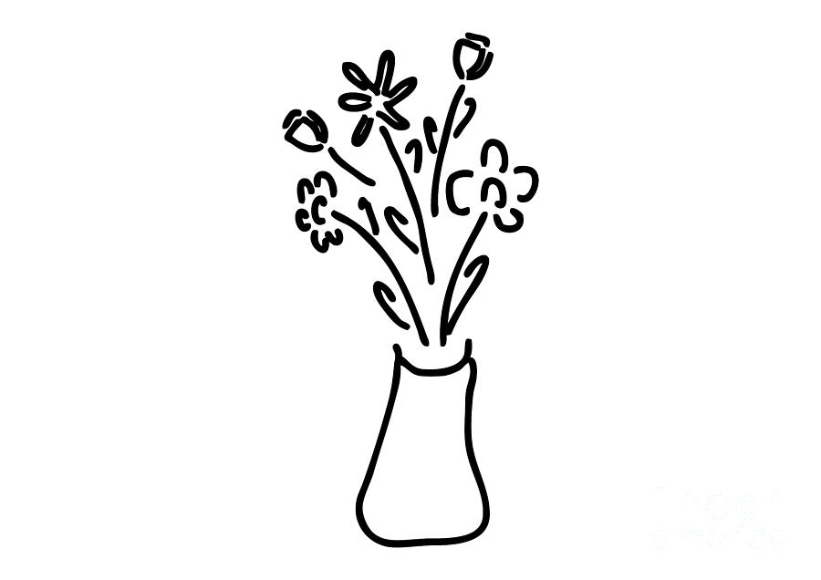 Bouquet In Vase With Roses Tulips Drawing