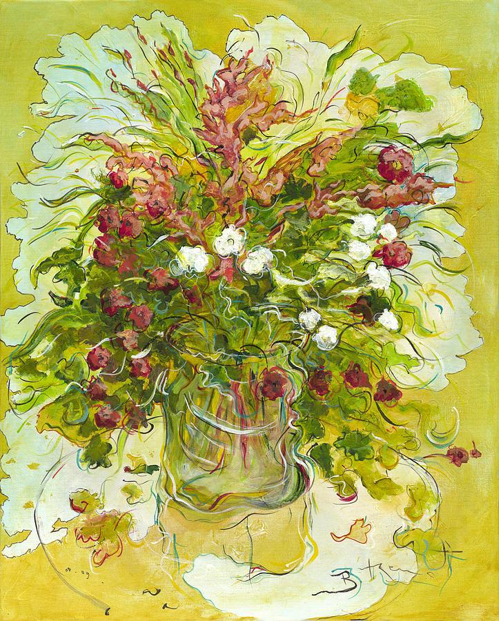 Bouquet Painting - Bouquet Jaune - Original For Sale by Bernard RENOT