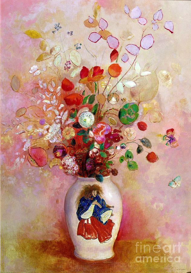 Bouquet Of Flowers In A Japanese Vase Painting By Odilon Redon