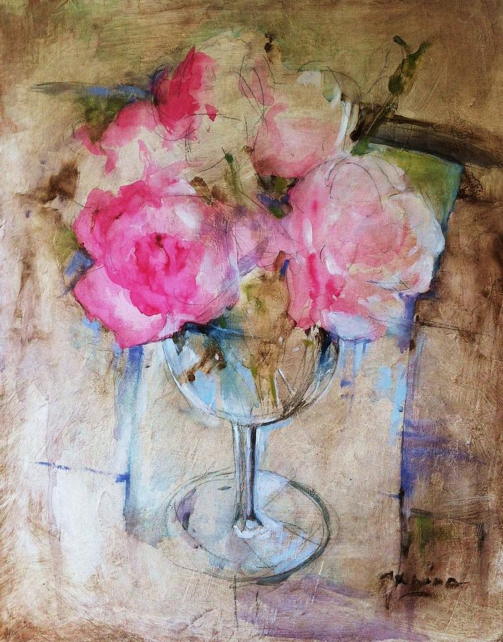 Flowers Painting - Bouquet Of Roses by Janina Pazdan