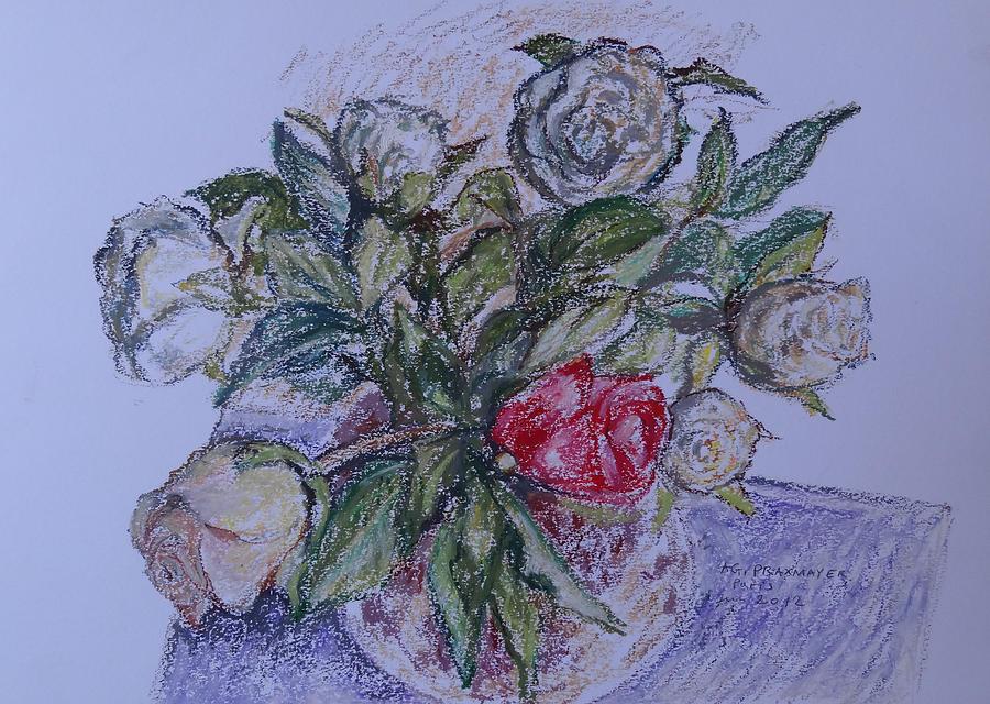 Flowers Painting - Bouquet Roses Creme by Agnieszka Praxmayer