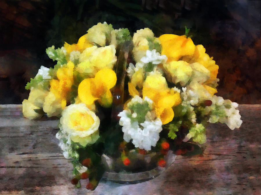 Bouquet Photograph - Bouquet With Roses And Calla Lilies by Susan Savad
