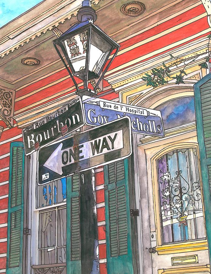 French Quarter Painting - Bourbon And Nicholls by John Boles