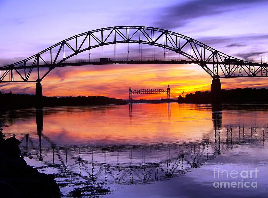 Bourne Bridge At Sunset Photograph By John Doble