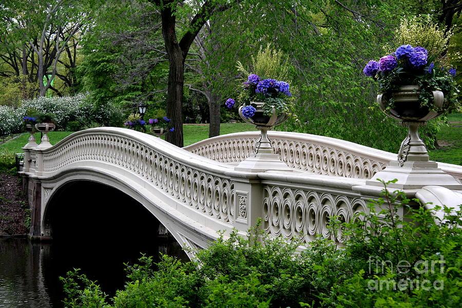 Bow Bridge Photograph - Bow Bridge Flower Pots - Central Park N Y C by Christiane Schulze Art And Photography