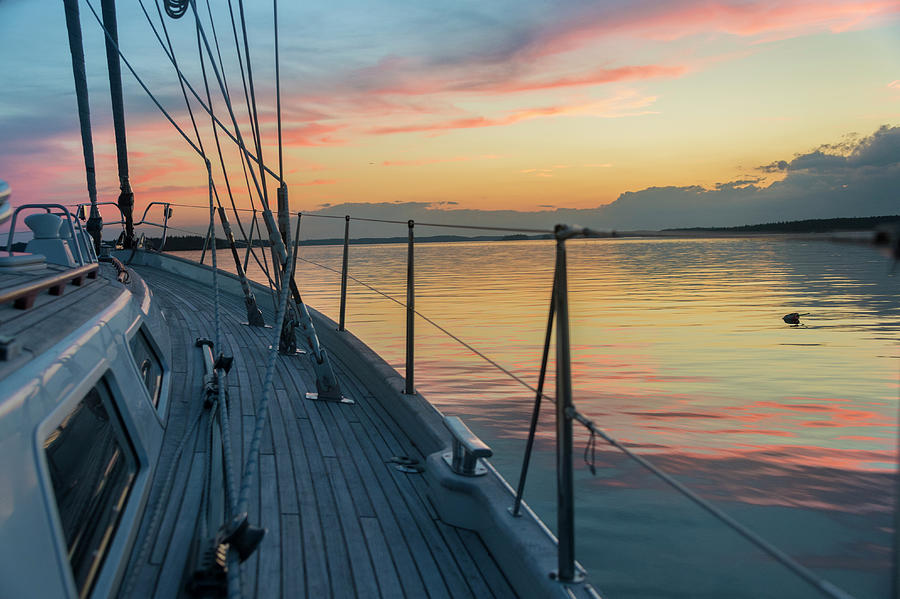 Bow Of 62 Ft Sailboat At Sunset Photograph by Gary S Chapman