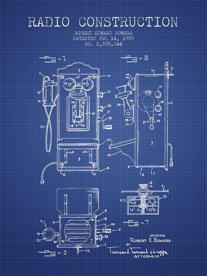 Bowers radio patent from 1959 blueprint digital art by aged pixel radio digital art bowers radio patent from 1959 blueprint by aged pixel malvernweather Gallery