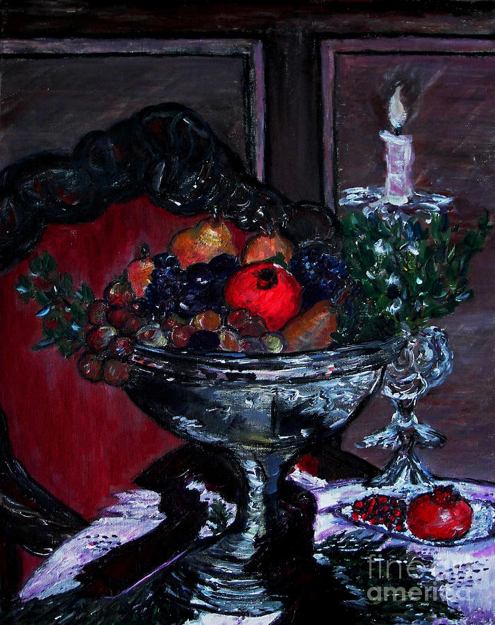 Pomegranate Painting - Bowl Of Holiday Passion by Helena Bebirian