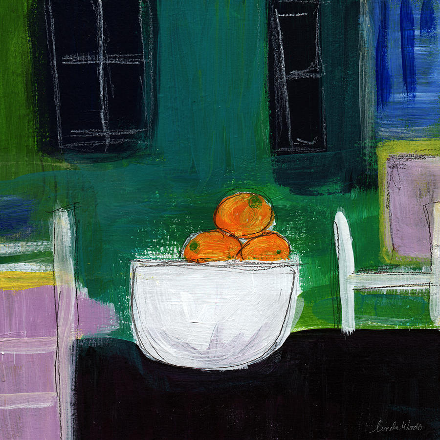 Bowl Of Oranges- Abstract Still Life Painting Painting