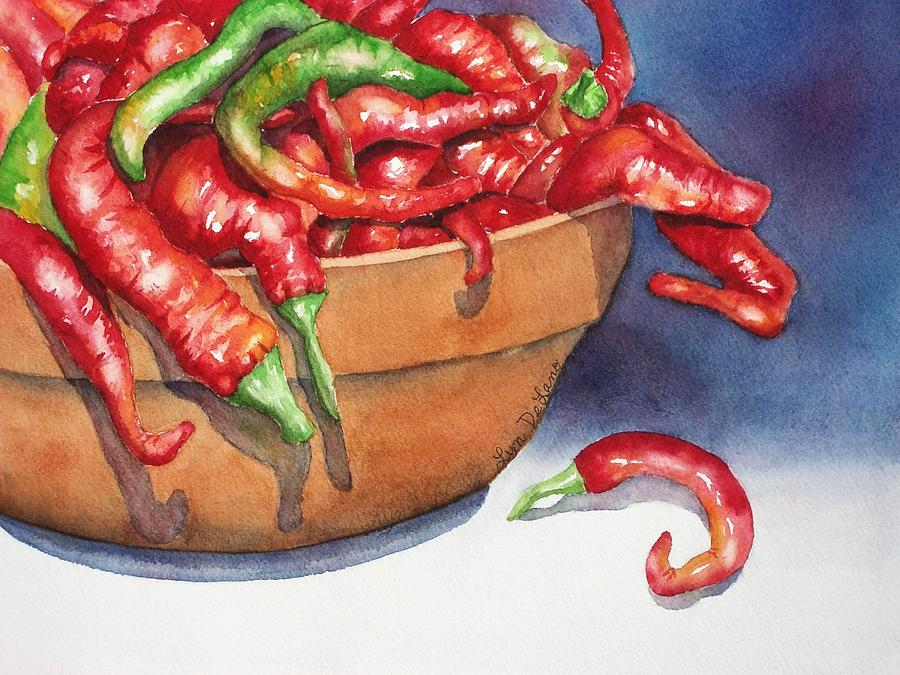 Chili Peppers Painting - Bowl Of Red Hot Chili Peppers by Lyn DeLano