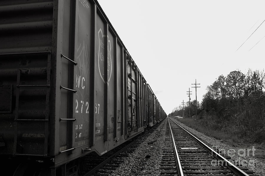 Train Photograph - Box Cars And Tracks by Russell Christie