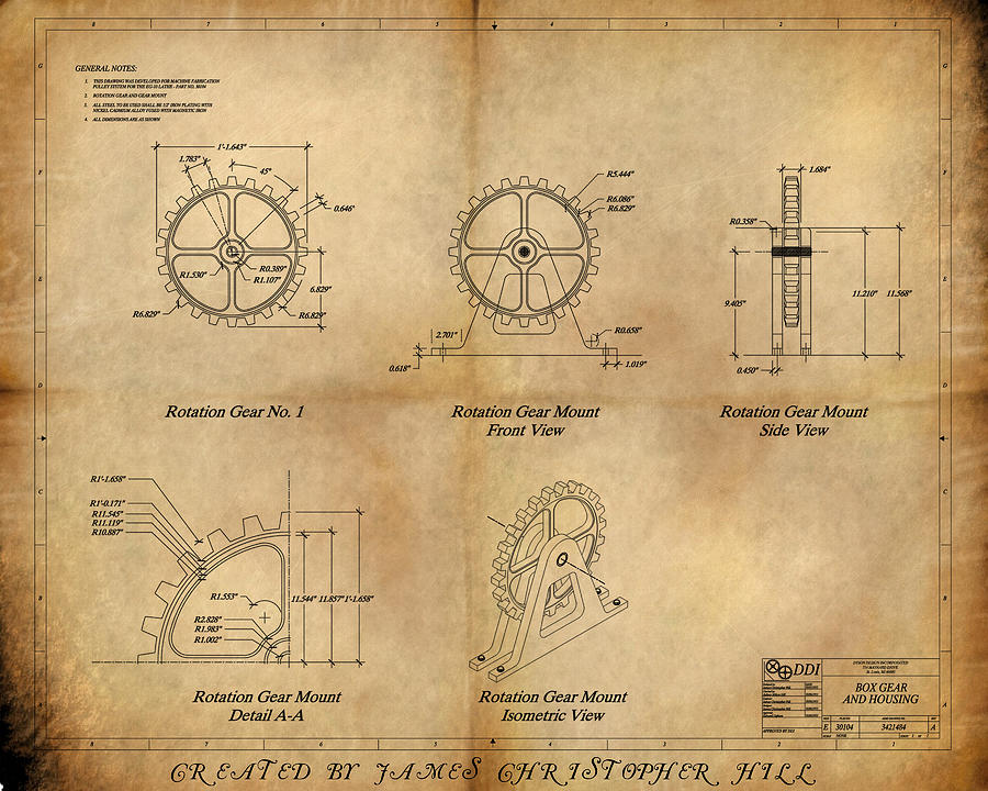 Steampunk; Gears; Housing; Cogs; Machinery; Lathe; Columns; Brass; Copper; Gold; Ratio; Rotation; Elegant; Forge; Industry; Copyright 2010-james Christopher Hill Painting - Box Gear And Housing by James Christopher Hill