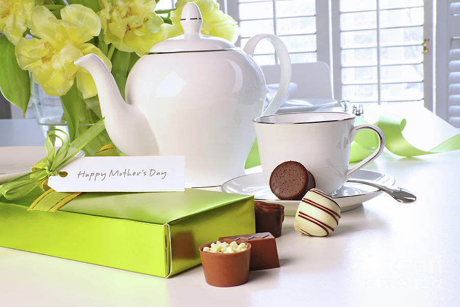 Beautiful Photograph - Box Of Chocolates On Table With Tea Set by Sandra Cunningham & Box Of Chocolates On Table With Tea Set Photograph by Sandra Cunningham