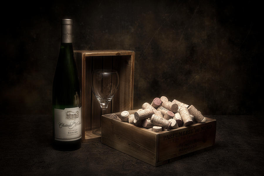 Alcohol Photograph - Box Of Wine Corks Still Life by Tom Mc Nemar