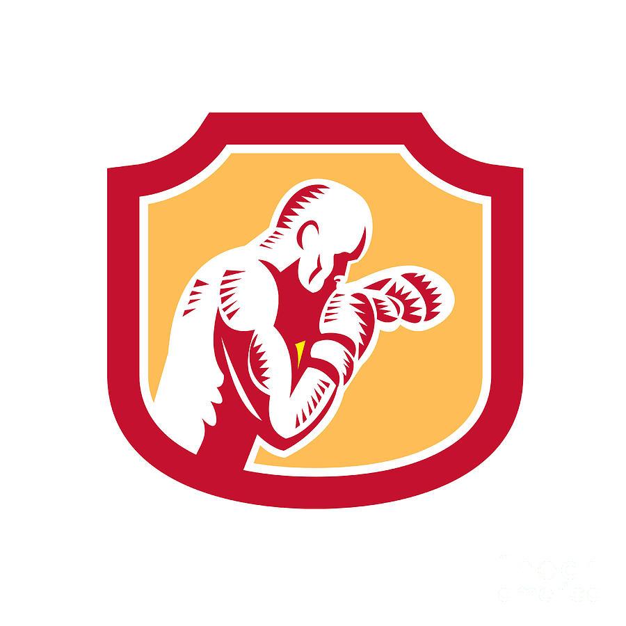 Boxer Digital Art - Boxer Boxing Jabbing Punch Side Shield Retro by Aloysius Patrimonio