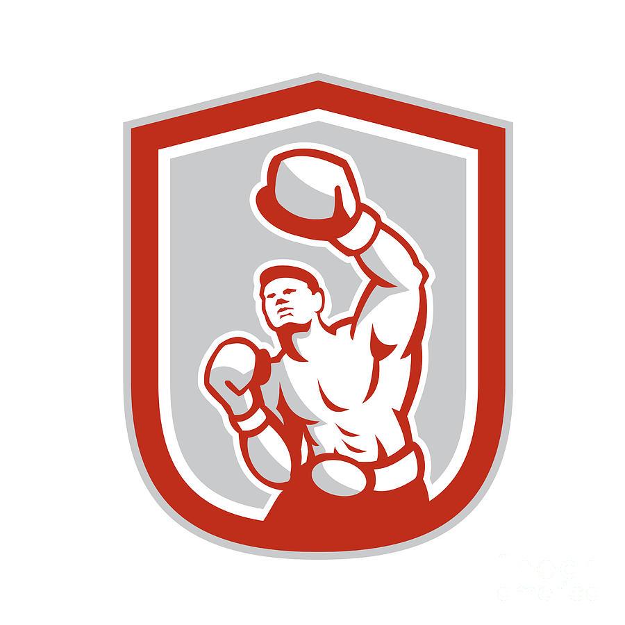 Boxer Digital Art - Boxer Boxing Punching Jabbing Circle Retro by Aloysius Patrimonio