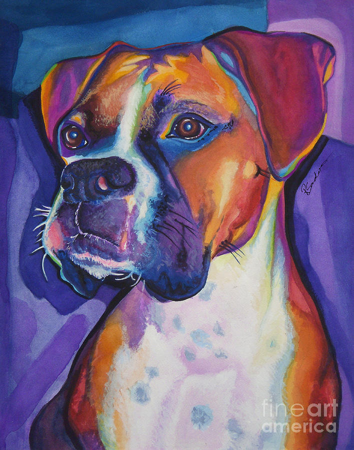 Colorful Painting - Boxer Dog Portrait by Robyn Saunders