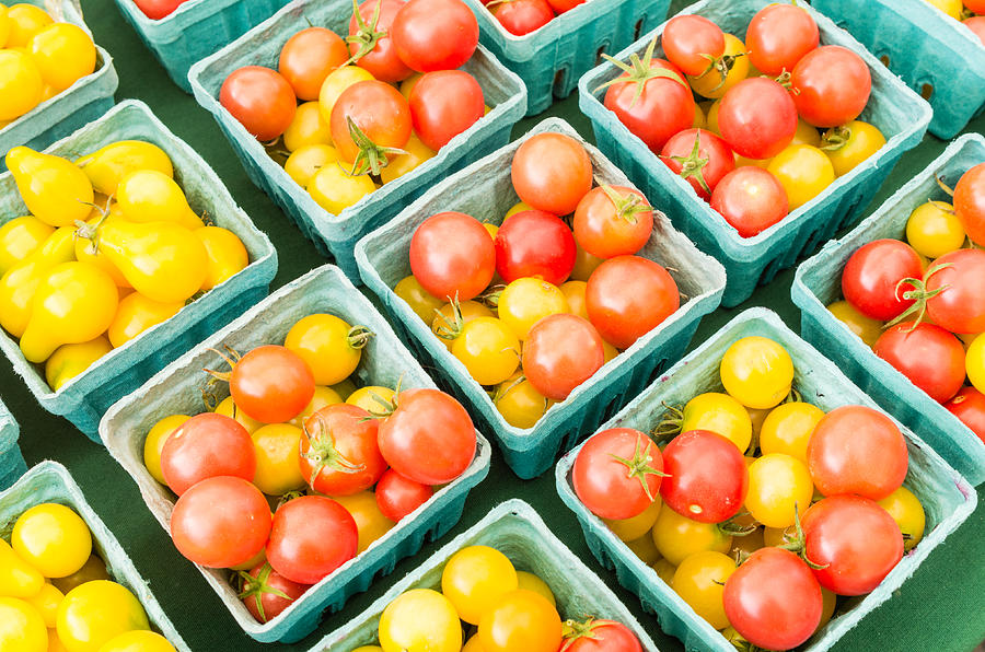 Agriculture Photograph - Boxes Of Cherry Tomatoes On Display by John Trax