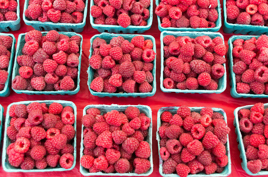 Agriculture Photograph - Boxes Of Fresh Red Raspberries by John Trax