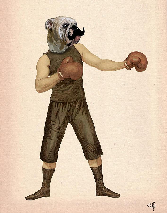 Boxing Prints Digital Art - Boxing Bulldog by Kelly McLaughlan