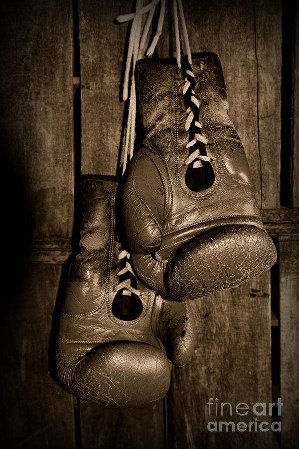 Paul Ward Photograph - Boxing Gloves  Black And White by Paul Ward