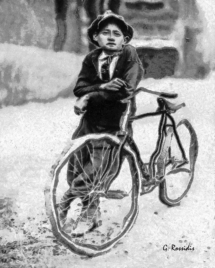 Boy And Bicycle Painting - Boy And Bicycle by George Rossidis