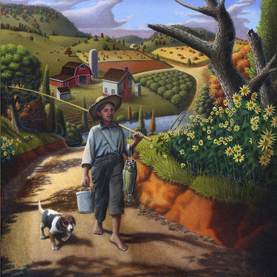 Boy And Dog Country Farm Life Landscape Square Format