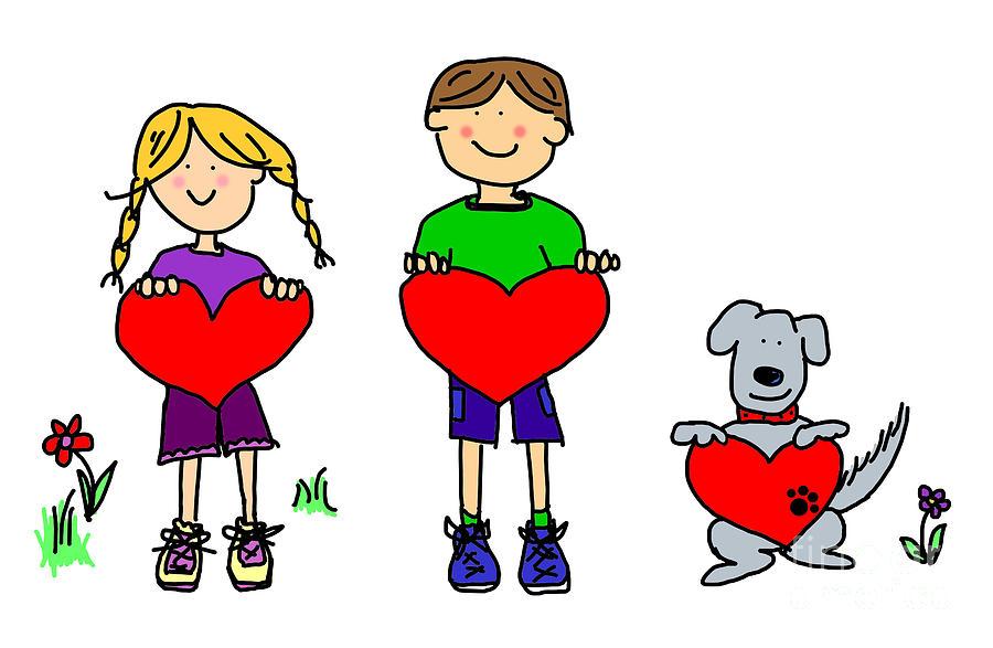 boy and girl and dog cartoon holding heart shape sign digital art by rh fineartamerica com