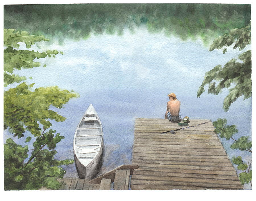 Boy At A Lake Watercolor Portrait Drawing by Mike Theuer