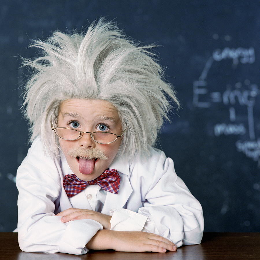 Human Photograph - Boy Dressed As Einstein by Richard Bailey/science Photo Library