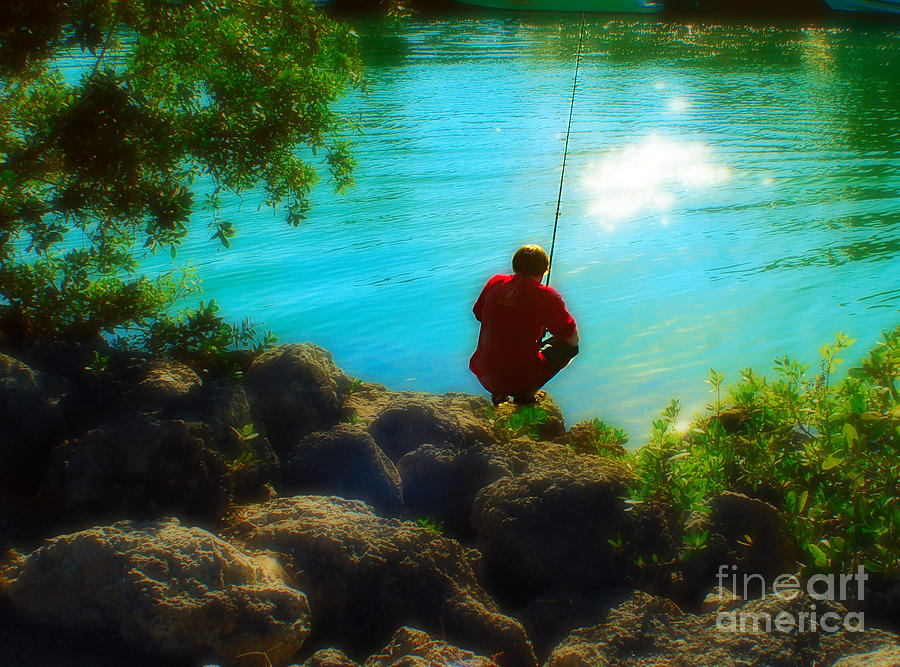 Lifestyle Photograph - Boy Fishing by Andres LaBrada