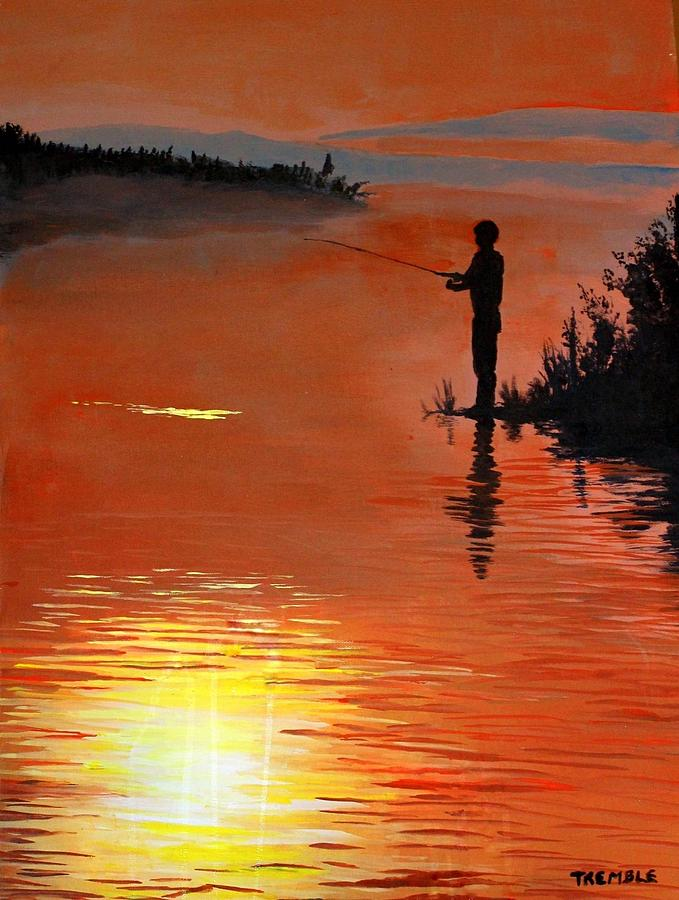 Boy Fishing For The Sunset Painting By William Tremble