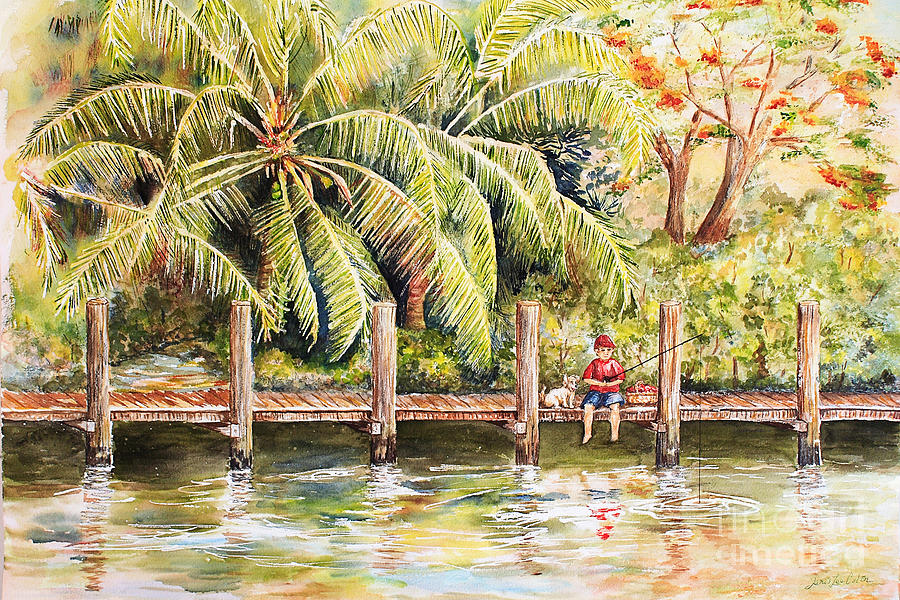 Ft Lauderdale Painting - Boy Fishing With Dog by Janis Lee Colon
