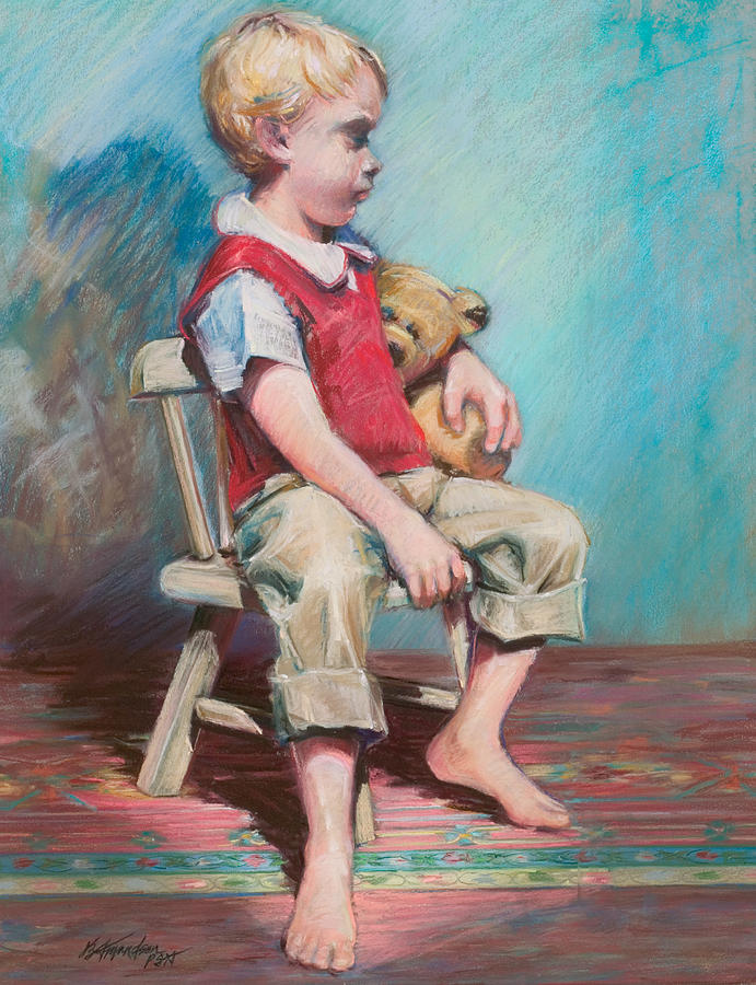 Child Pastel - Boy In Chair by Beverly Amundson