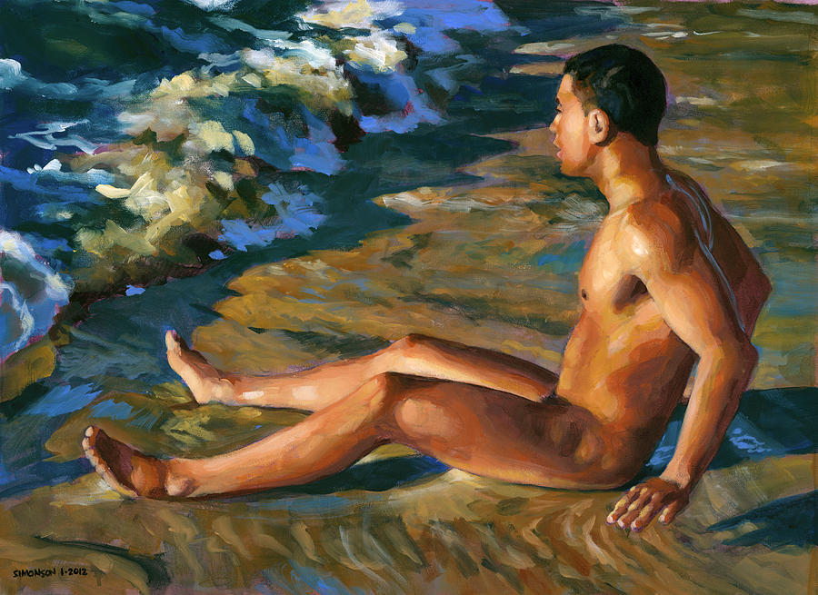Male Nude Painting - Boy In Shorebreak by Douglas Simonson