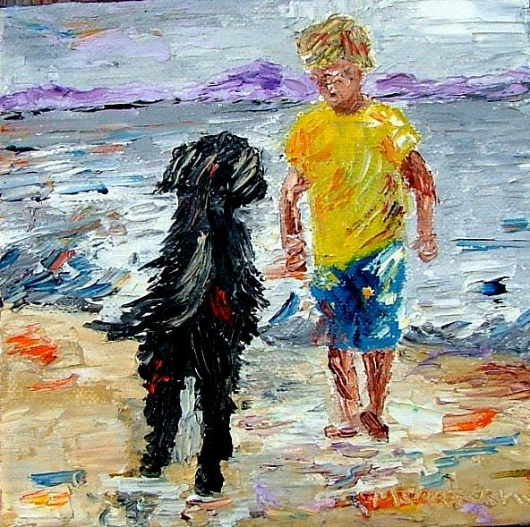 Oil Painting - Boy Playing With The Dog by Inna Montano