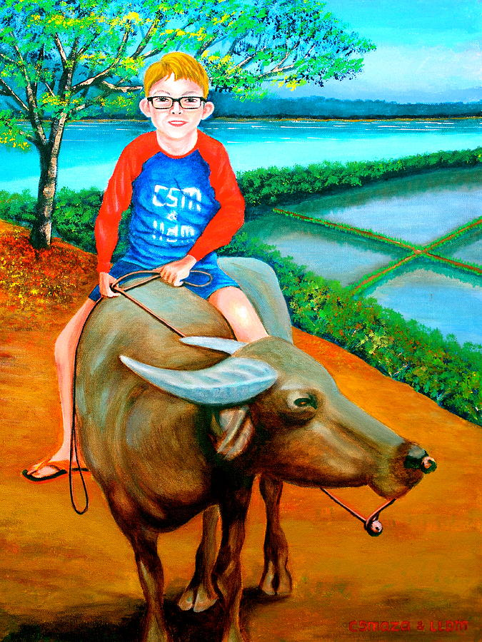 Boy Riding A Carabao Painting By Lorna Maza