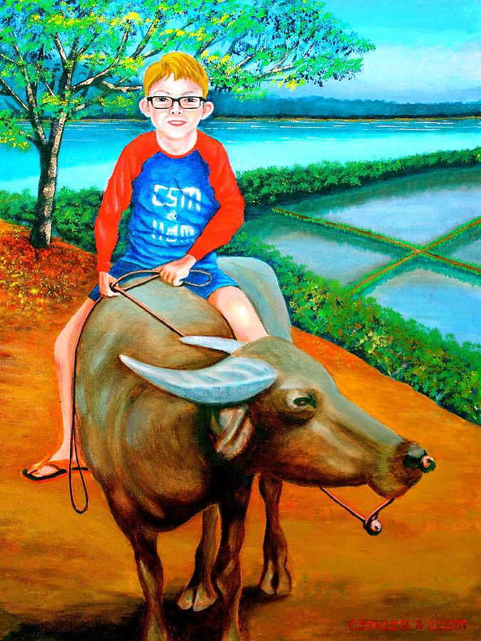 Boy Riding A Carabao Painting