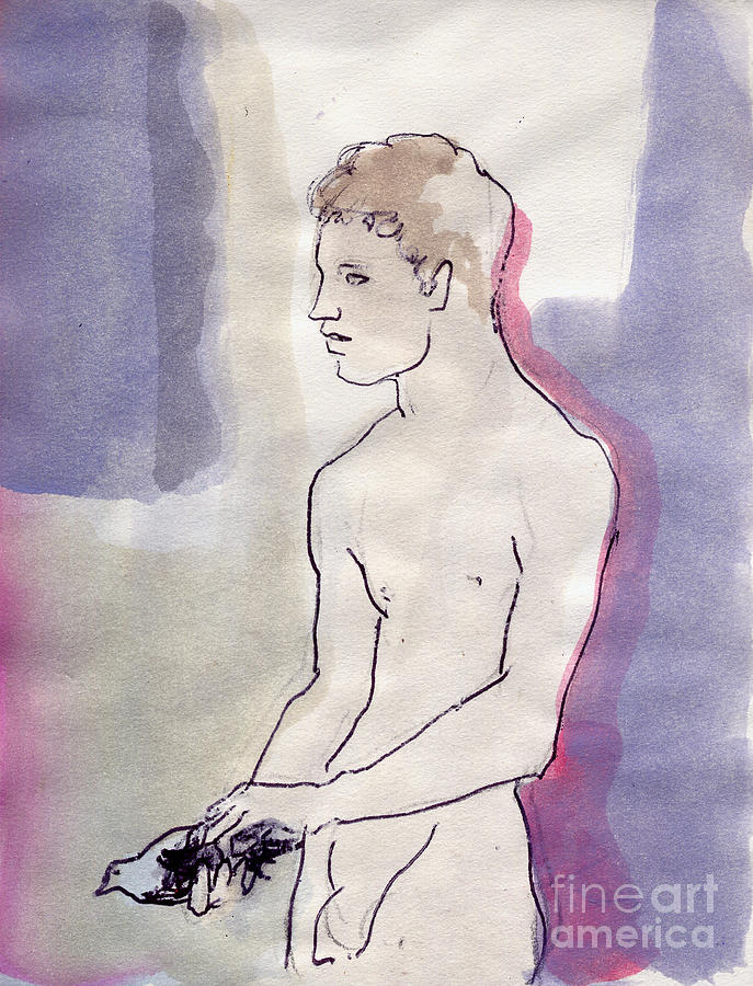 Boy Painting - Boy With Pigeon by Line Arion